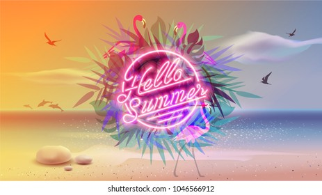Hello summer Ultra Violet neon style. Retro style pop disco design. Fashion beach party, vector background vintage style. Disco 1980 dance club. Eighties video and music mix. Chill out Vacation.