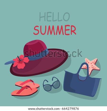 a3289d20855 Hello Summer Vacation Banner Sun Hat Stock Vector (Royalty Free ...