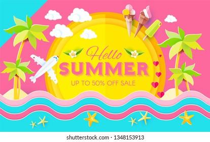Hello. Summer! Vacation and Travel. Enjoy Your Hot Sea Holiday! Vector illustration