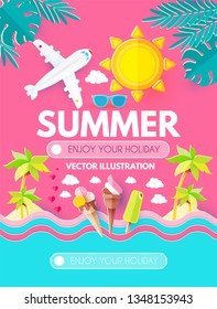 Hello. Summer! Vacation and Travel. Enjoy Your Hot Sea Holiday! Vector illustration