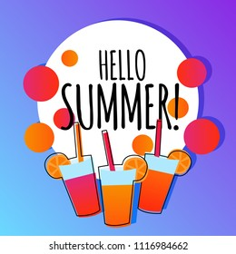 Hello summer vector background banner with drinks