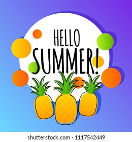 Hello summer vector background card with pineapples
