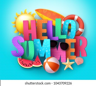 Hello Summer vector banner greeting design with 3D text typography and colorful beach elements in blue pattern background for summer season holiday. Vector illustration.