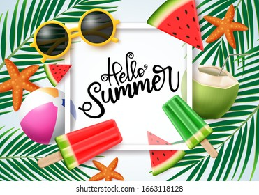 Hello summer vector concept design. Hello summer typography in white space for text with colorful beach elements like sunglasses, popsicle, beach ball, coconut in palm leaves background.