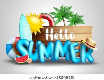 Hello summer vector concept design. Hello summer text in tropical season background with elements like palm trees, surf board and floater for fun outdoor holiday vacation. Vector illustration