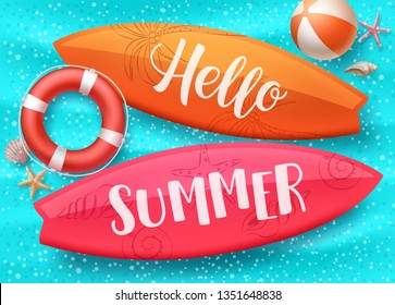 Hello summer vector design with surfboard floating in blue water pool and colorful beach elements like lifebuoy and beach ball. Vector illustration.