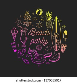 Hello Summer vector hand drawn Lettering with Beach party elements. summer cocktails and beverages. Various doodles for beach party, bar, cafe menu
