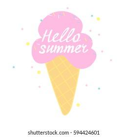 Hello summer -Vector illustration.