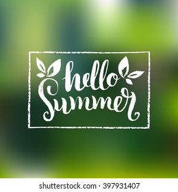 Hello Summer vector illustration, background. Fun quote logo or label. Hand lettering inspirational typography poster, banner in frame.
