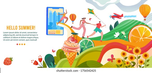 Hello summer vector illustration. Cartoon flat happy people enjoy summer nature, active man woman running with kite in hands to rest and relax in park. Summertime outdoor activity concept background