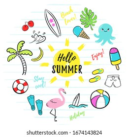 Hello Summer. Vector illustration of colorful funny symbols such as flamingos, ice creams, palm trees, surfboard, slippers, jellyfish, sun, shorts. Set of summer doodles on a white background.