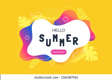 Hello summer vector illustration. Summer sale web banner template. Colorful abstract background with silhouettes of tropical leaves. Promotion offer. Applicable for flyer, social networks, poster.