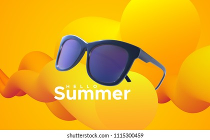 Hello Summer. Vector summertime illustration. Realistic 3d sunglasses and text label with abstract yellow and orange liquid color shapes. Seasonal poster. Fashion eyewear accessory design.