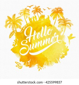 Hello Summer Watercolor Background With Elements