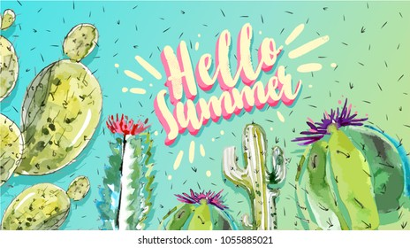 Hello summer. Watercolor Cactus Set. Minimal Trendy Fashion Style poster. Trendy Bright Colors. Blue Neon Cactus Mood, Surrealism. Sweet Summer fashion Style. Creative Unusual Fun banner or poster.