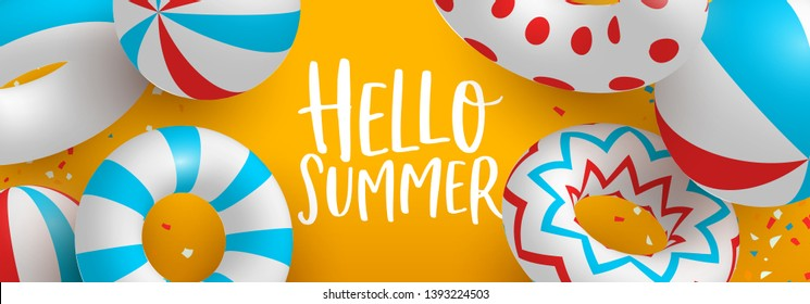 Hello Summer web banner of 3d life savers and beach balls. Colorful pool party or seasonal event concept illustration.