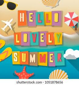 Hello summer web banner background. Sea with sand. Hello Summer Holiday party beach template backdrop, vector illustration.