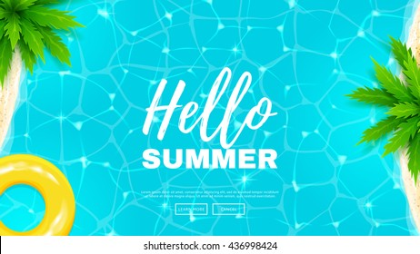 Hello summer web banner. Beautiful background on the sea topic with palm trees. Vector illustration. Hello Summer Holiday backdrop.