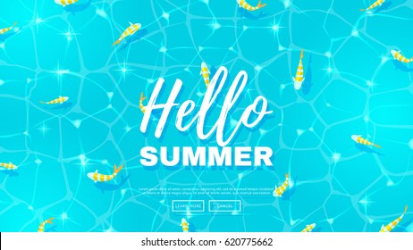 Hello summer web banner wit fish. Blue background on the sea topic. Vector illustration. Hello Summer Holiday backdrop.