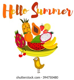 Hello Summer-background with hand drawn slice of watermelon,dragon fruit, banana, papaya, mango, peach and other. Bright poster with lettering -stock vector