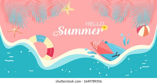Hello Summer/tropical pink and blue pastel color concept with surfboard, life buoy, beach ball, starfish, splash water, plam leaf and the beach. For template, banner, billboard, tag summer sale.