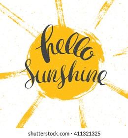 hello sunshine vector lettering, vector summer illustration