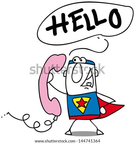 Hello Super Hero Retro Pink Phone Stock Vector Royalty Free