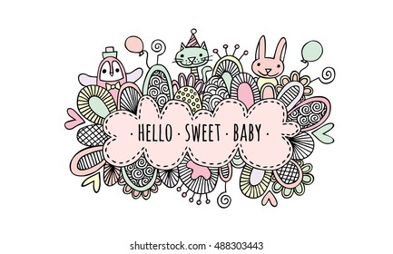 Hello Sweet Baby Hand Drawn Doodle Pastel pink colored vector illustration of a cloud with the words hello sweet baby surrounded by a penguin, bunny, rabbit, cat, balloons, hearts, and swirls