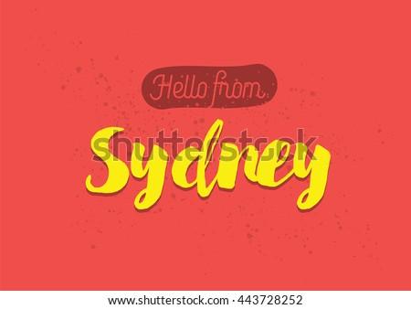Hello sydney australia greeting card typography stock vector hello from sydney australia greeting card with typography sydney lettering design hand m4hsunfo