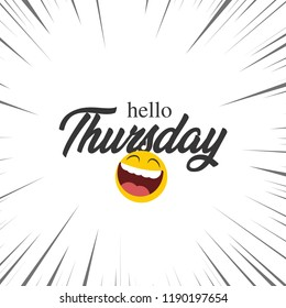 Hello Thursday lettering design with a smiley