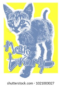 Hello tramp. Quote. Vector illustration. Tramp blue cat. handdrawn letters. May be use for graphic, print tee.