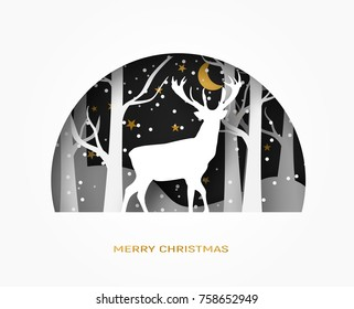 Hello winter abstract paper cut illustration of deer in the forest. snow, moon and stars in the night. Vector colorful template greeting card in carving art style.