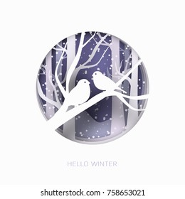 Hello winter abstract paper cut illustration of snow and two birds in the forest. Vector colorful template greeting card in carving art style.