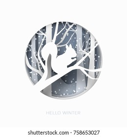 Hello winter abstract paper cut illustration of snow and squirrel in the forest. Vector colorful template greeting card in carving art style.