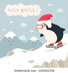 Hello winter background. Cute penguin cartoon playing ice skating on snow scene mountain. vector illustration christmas greeting card.