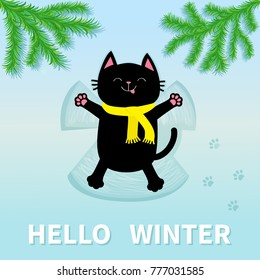 Hello Winter. Black cat laying on back. Making snow angel. Moving paws. Fir tree. Branch spruce Firtree Cute cartoon funny relaxing character Paw print track. Flat design. Blue background. Vector