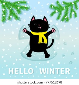 Hello Winter. Black cat laying on back. Making snow angel. Moving paws. Fir tree. Branch spruce Firtree Cute cartoon funny character Paw print track. Flat design. Blue snowflake background. Vector