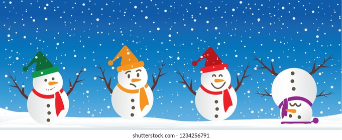 Hello Winter Blue winter landscape snowy funny Snowmen snowman Vector snowdrifts falling snow falling snowflake snowflakes Merry Christmas Happy New Year xmas Shining snowfall snowball balls december