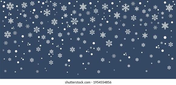 Hello, winter border, snow night. Falling snowflakes on dark blue background. Snowfall vector illustration.