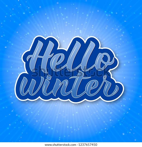 Hello Winter Calligraphy Lettering Bright Blue Stock Vector