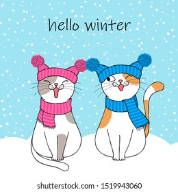 Hello winter. Couple of cute cartoon cats wearing a knitted hat and scarf. Hand drawn illustration
