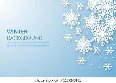 Hello Winter design background. Origami snowfall. Vector Illustration.