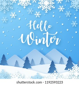 Hello Winter design background. Origami snowfall. Vector Illustration.