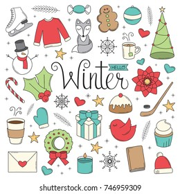 Hello Winter Doodles. A collection of Christmas/Winter illustrations in a doodle style.