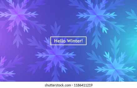 Hello Winter Layout with Snowflakes for Web, Landing Page, Banner, Poster, Website Template. Snow Christmas Seasonal Background for Mobile App, Social Media. Vector illustration