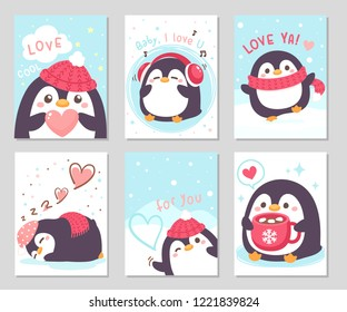 Hello winter! little cute chubby penguin is here for you. Set of rectangle gift tag, card, postcard.Penguin with red scarf, knitted hat. Lovely cool day. Vector illustration.