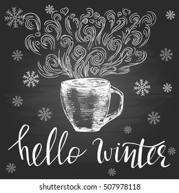 Hello winter. Seasonal template with hand drawn cup, swirls and hand lettering on the blackboard.