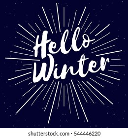 Hello winter text design. Vector logo, typography .For banner, greeting card, gift package etc.
