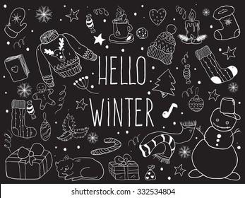Hello winter. Vector doodle winter symbols.