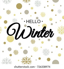 Hello winter. Vector illustration. Lettering. Calligraphy. Winter logos and emblems for invitation, t-shirt, prints. Hello winter black written inscription with snowflakes on white background